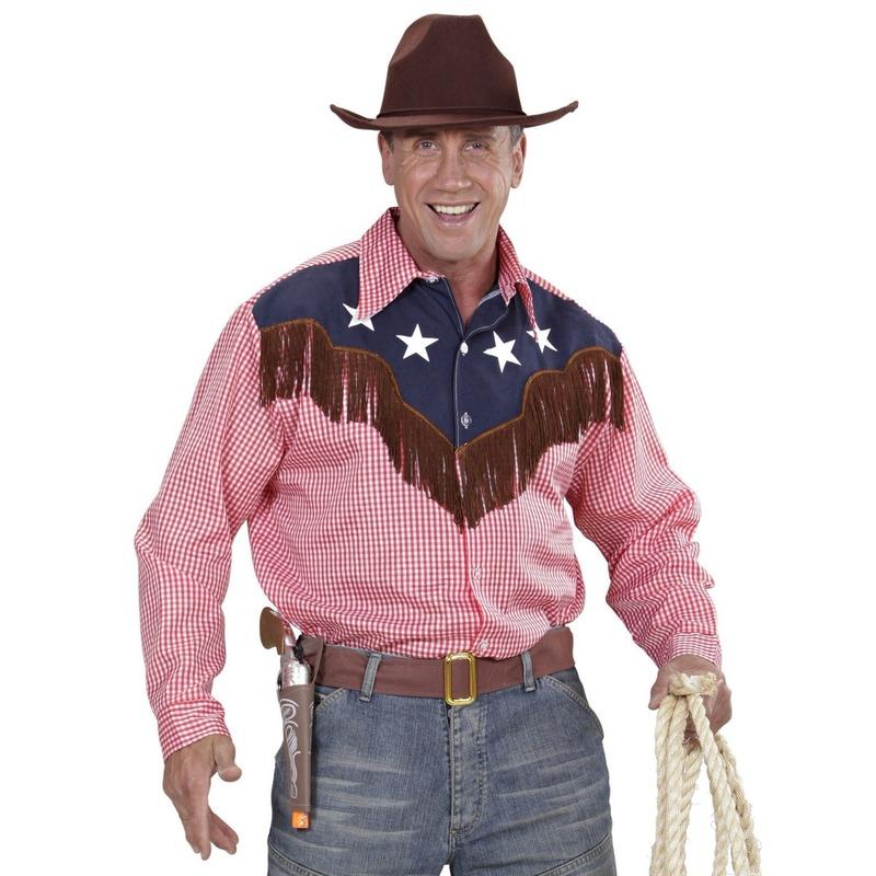 Cowboy blouse rood geruit met franjes voor heren M/L Multi