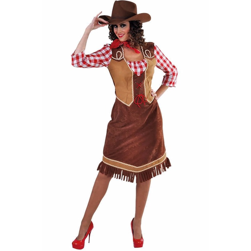 Cowboy verkleed jurk met geruite blouse voor dames 42 (XL) Multi