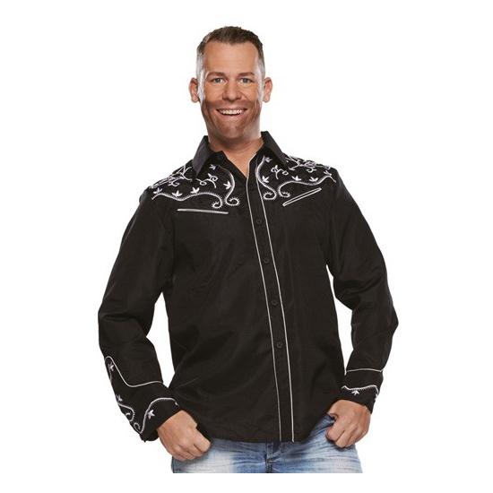 Cowboy western blouse zwart voor heren 52 (L) Zwart