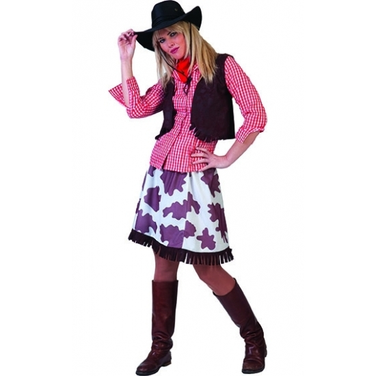 Cowgirl blouse voor dames rood/wit Rood