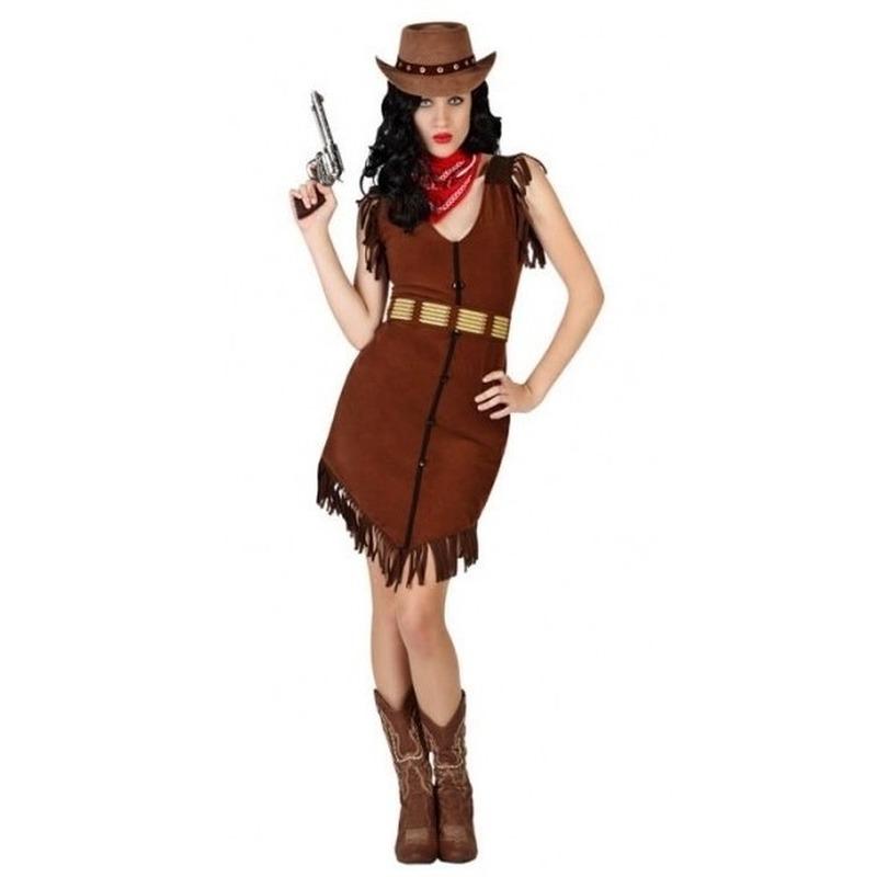 Cowgirl kostuum voor dames M/L (38-40) Bruin