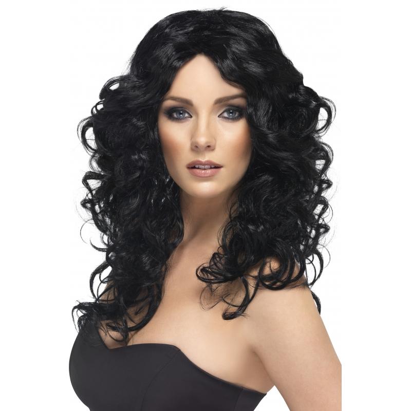 Dames pruik zwart krullend haar
