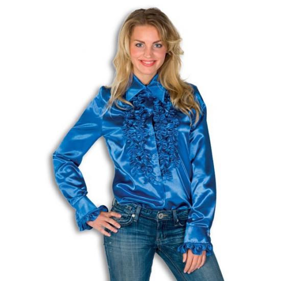 Dames rouche overhemd blauw 38 (M) Blauw