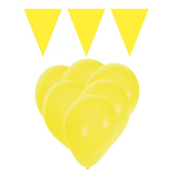 Decoratie geel 15 ballonnen met 2 vlaggenlijnen