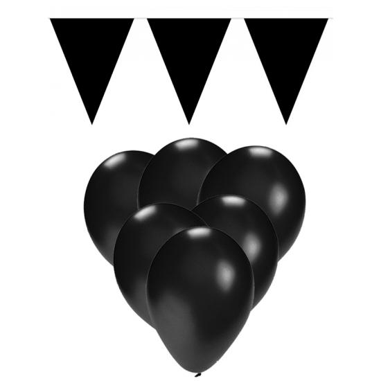 Decoratie zwart 15 ballonnen met 2 vlaggenlijnen