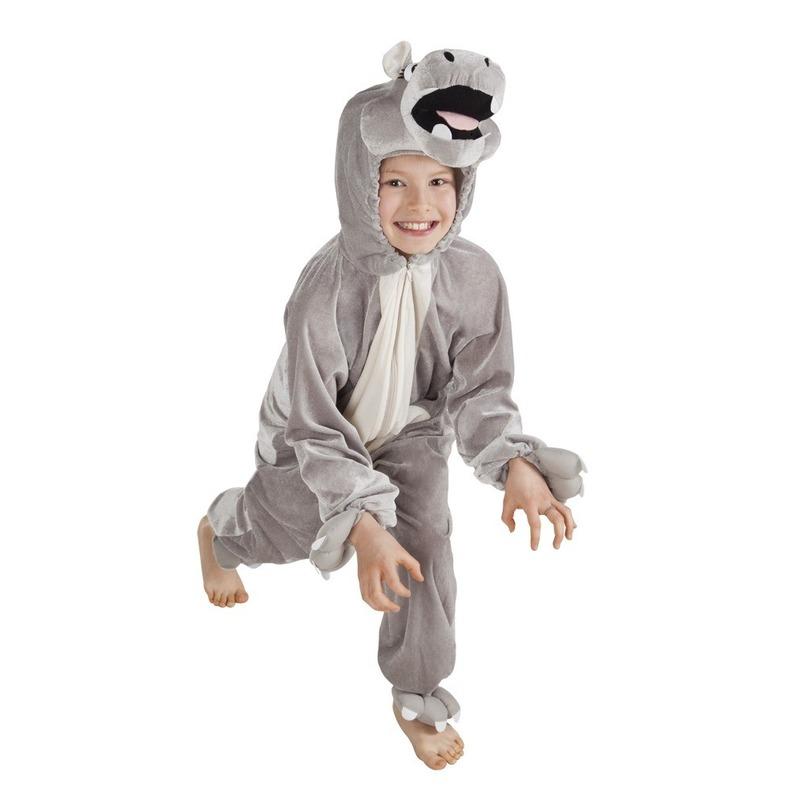 Dieren kostuum nijlpaard voor kinderen 116 Grijs