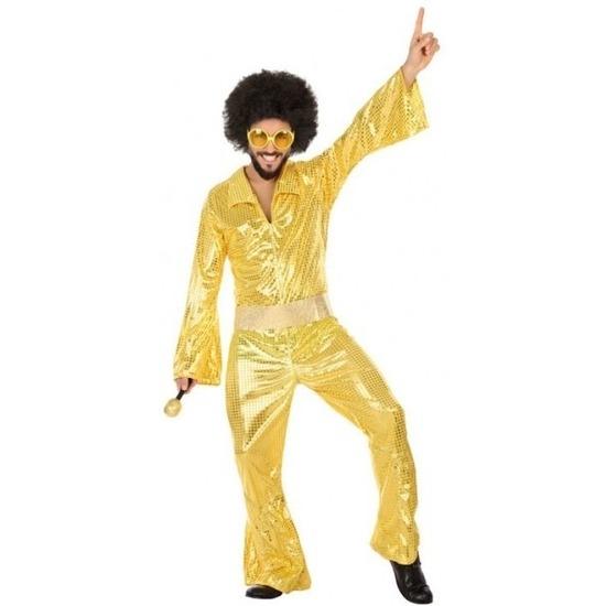 Disco/1970s jumpsuit gouden pailletten voor heren M/L Multi