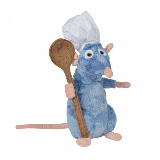 Disney pluche knuffel Remy Ratatouille met lepel 25 cm