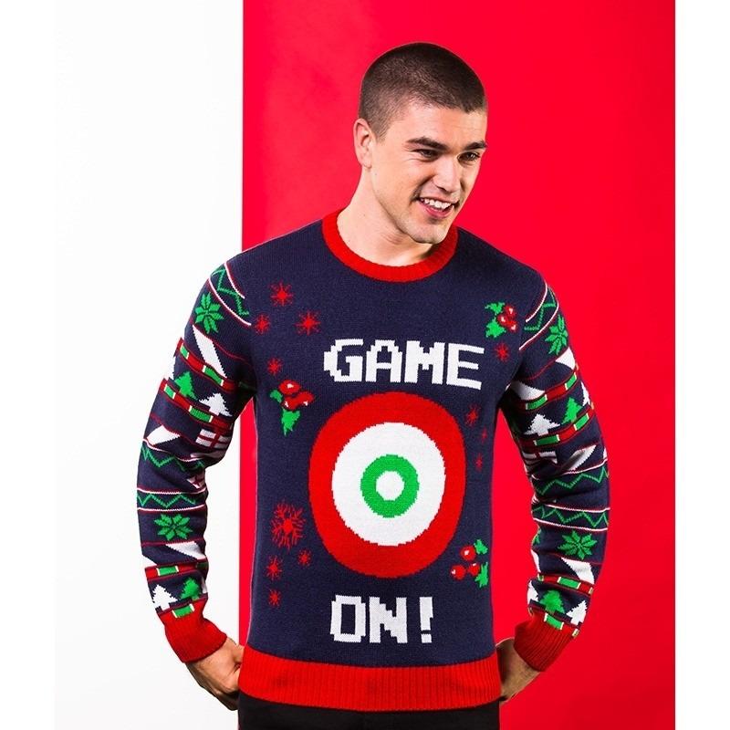 Donkerblauwe kerst sweater met doelwit voor heren M (40/50) Blauw