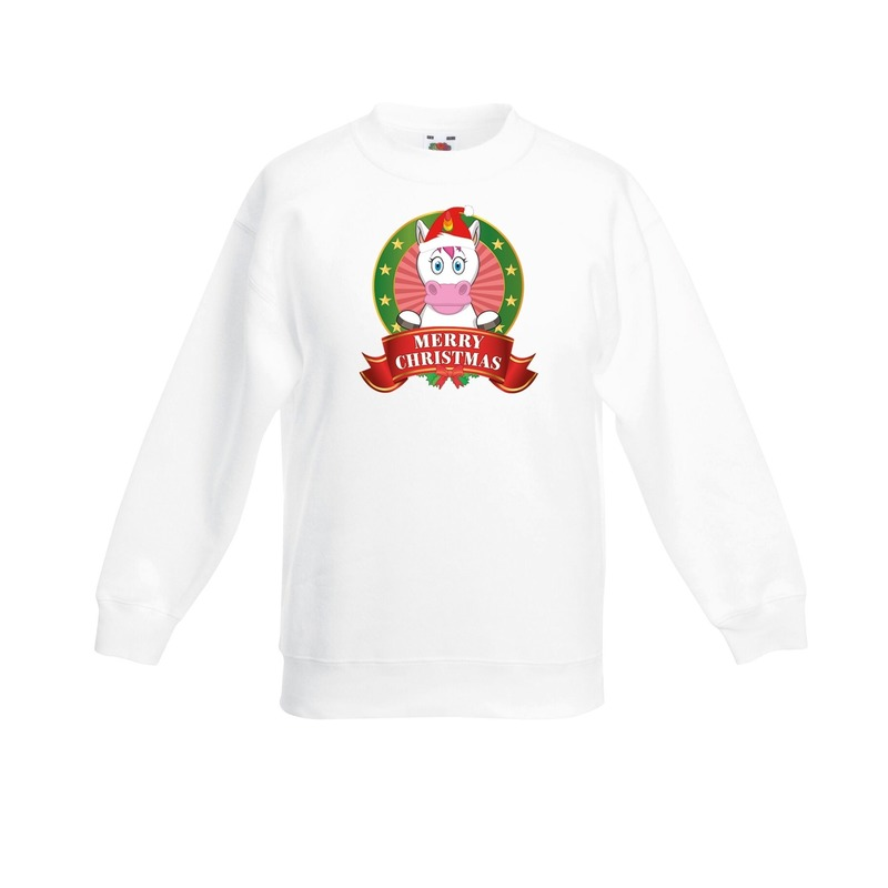 Eenhoorn kerstmis sweater wit voor jongens 12-13 jaar (152/164) Multi