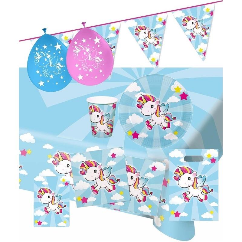 Eenhoorns print feestje versiering pakket 2-8 personen - Feestpakketten