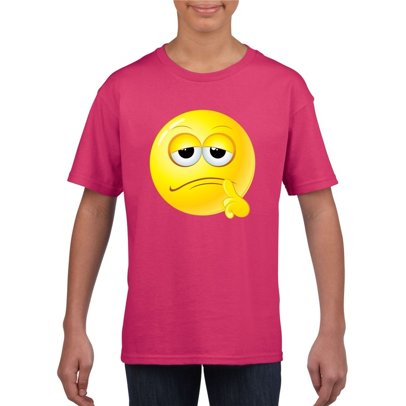 Emoticon bedenkelijk t-shirt fuchsia/roze kinderen M (134-140) Roze