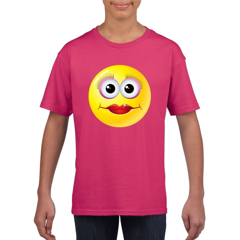 Emoticon diva t-shirt fuchsia/roze kinderen M (134-140) Roze