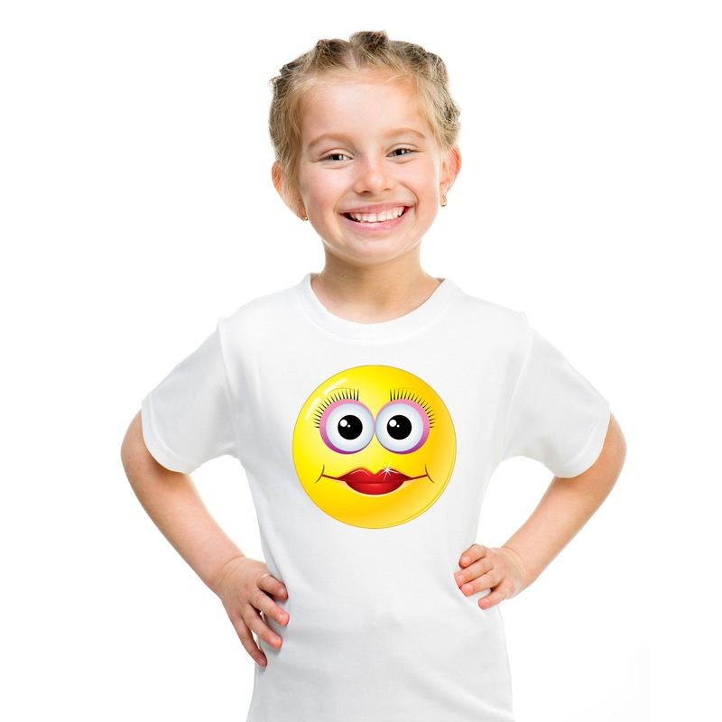 Emoticon diva t-shirt wit kinderen M (134-140) Wit