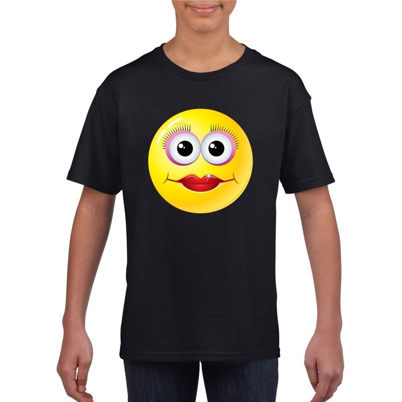 Emoticon diva t-shirt zwart kinderen M (134-140) Zwart