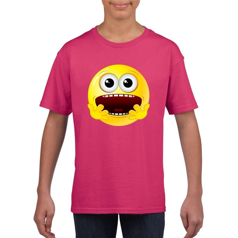 Emoticon geschrokken t-shirt fuchsia/roze kinderen M (134-140) Roze