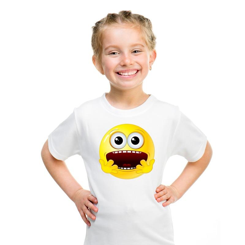 Emoticon geschrokken t-shirt wit kinderen M (134-140) Wit