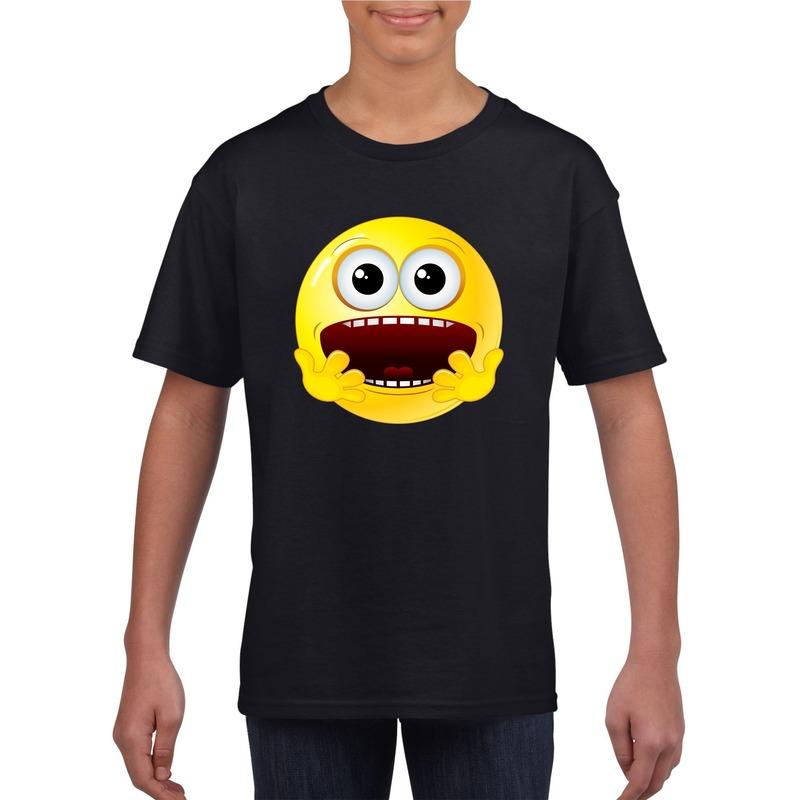 Emoticon geschrokken t-shirt zwart kinderen M (134-140) Zwart