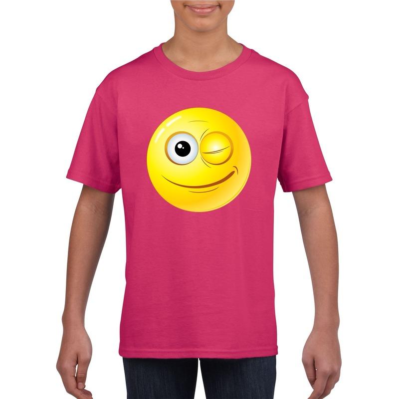 Emoticon knipoog t-shirt fuchsia/roze kinderen M (134-140) Roze
