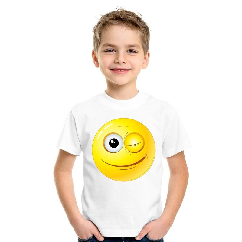 Emoticon knipoog t-shirt wit kinderen M (134-140) Wit