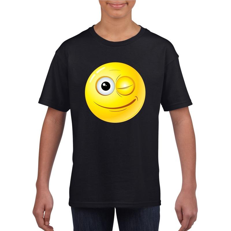 Emoticon knipoog t-shirt zwart kinderen M (134-140) Zwart
