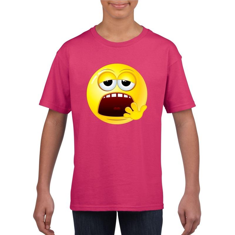 Emoticon moe t-shirt fuchsia/roze kinderen M (134-140) Roze