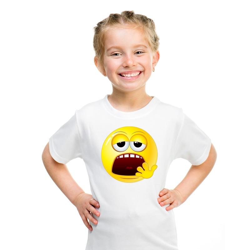 Emoticon moe t-shirt wit kinderen M (134-140) Wit
