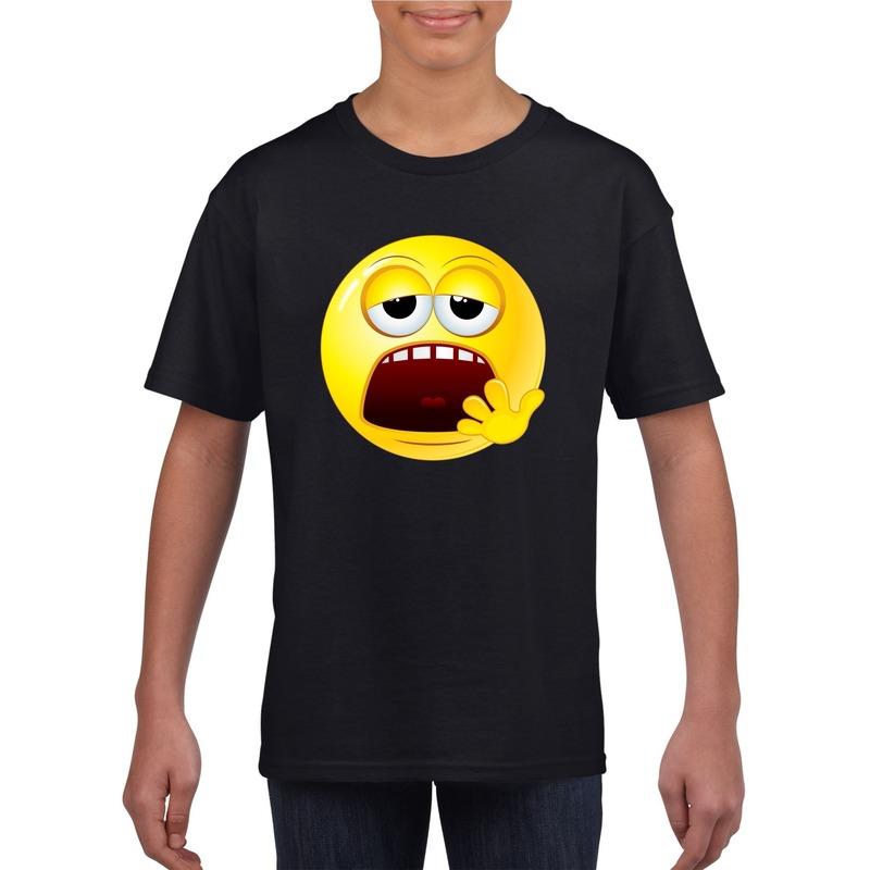 Emoticon moe t-shirt zwart kinderen M (134-140) Zwart