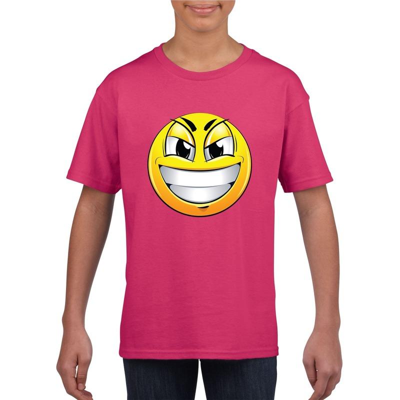 Emoticon ondeugend t-shirt fuchsia/roze kinderen M (134-140) Roze