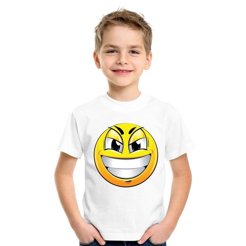 Emoticon ondeugend t-shirt wit kinderen M (134-140) Wit