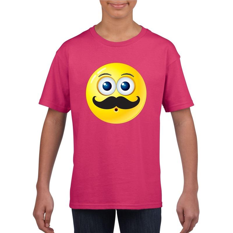 Emoticon snor t-shirt fuchsia/roze kinderen M (134-140) Roze