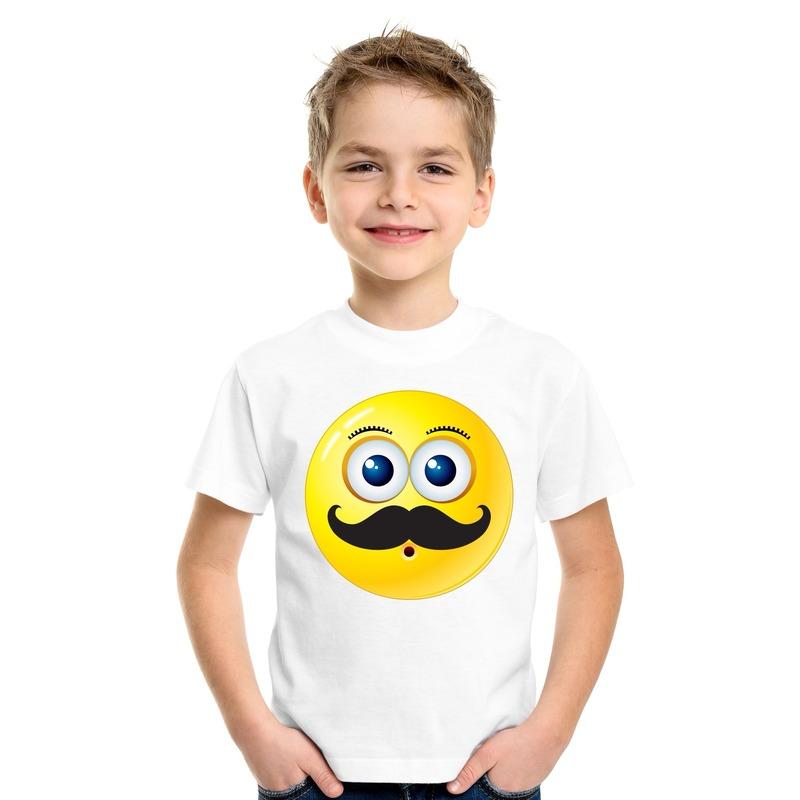 Emoticon snor t-shirt wit kinderen M (134-140) Wit