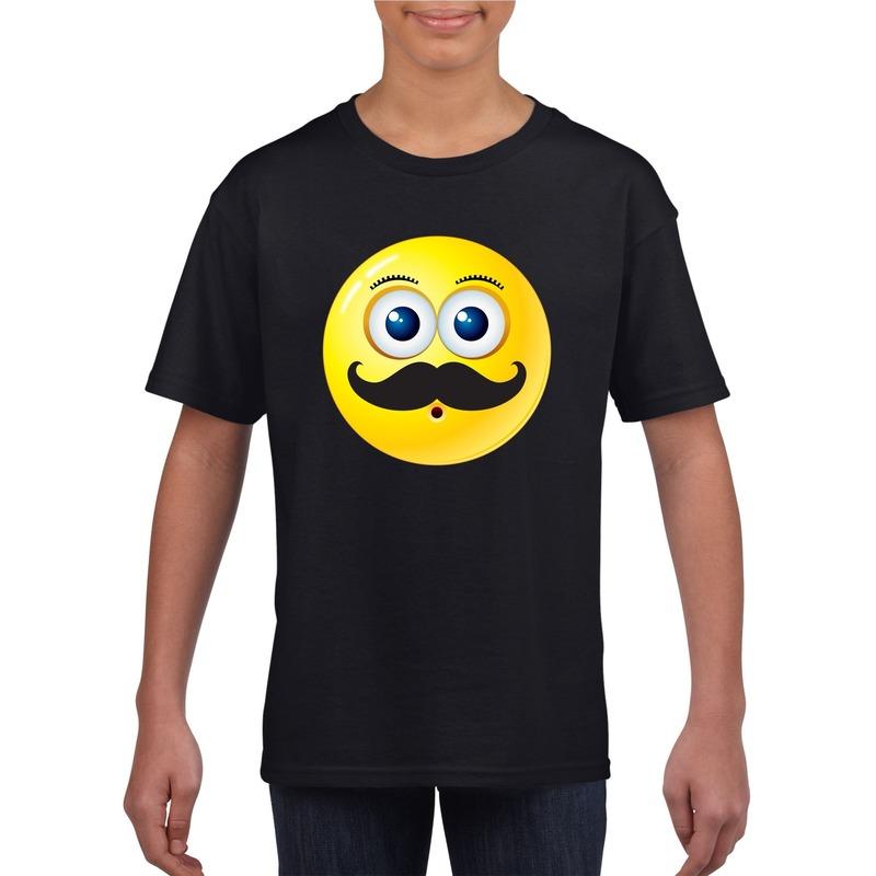 Emoticon snor t-shirt zwart kinderen M (134-140) Zwart