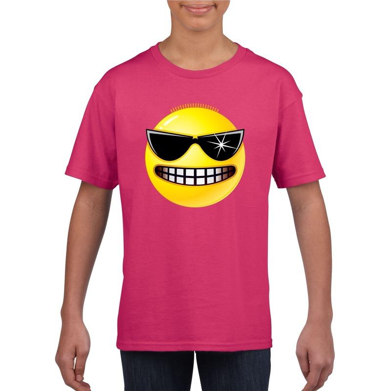 Emoticon stoer t-shirt fuchsia/roze kinderen M (134-140) Roze