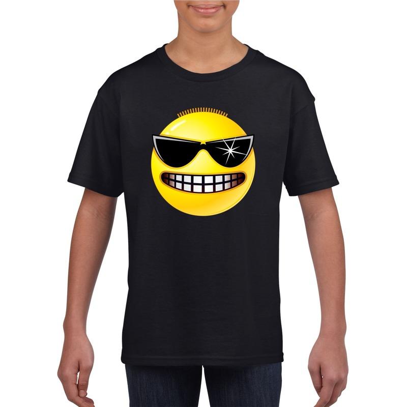 Emoticon stoer t-shirt zwart kinderen M (134-140) Zwart