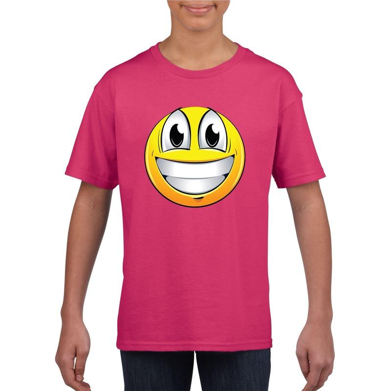 Emoticon super vrolijk t-shirt fuchsia/roze kinderen M (134-140) Roze