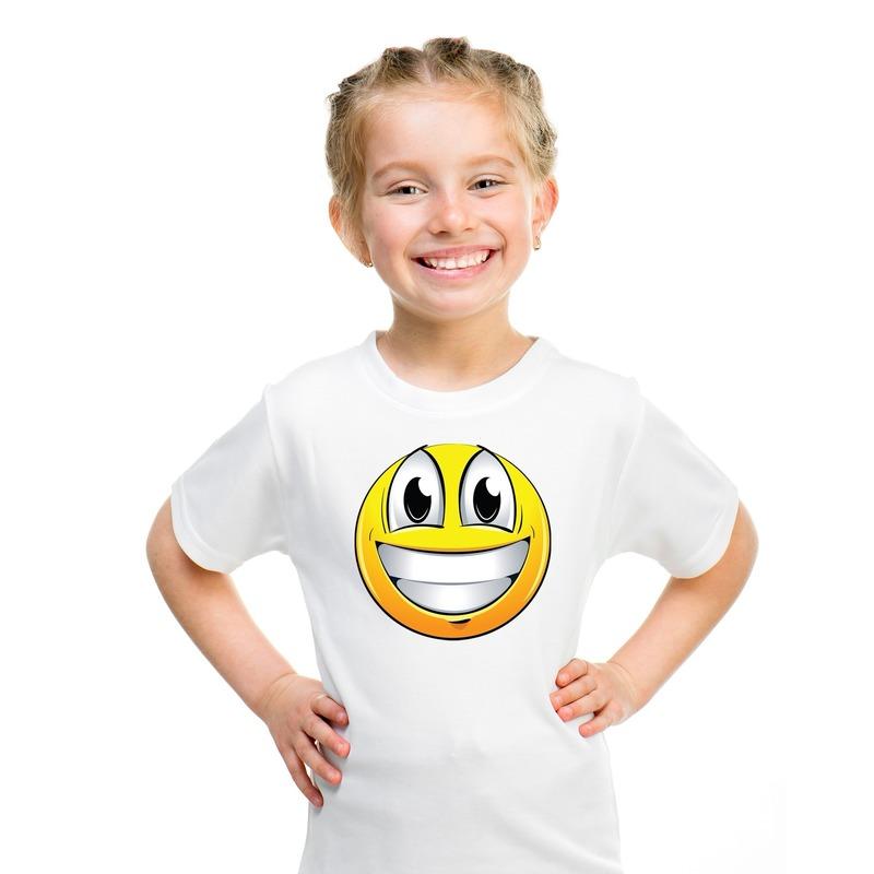 Emoticon super vrolijk t-shirt wit kinderen M (134-140) Wit