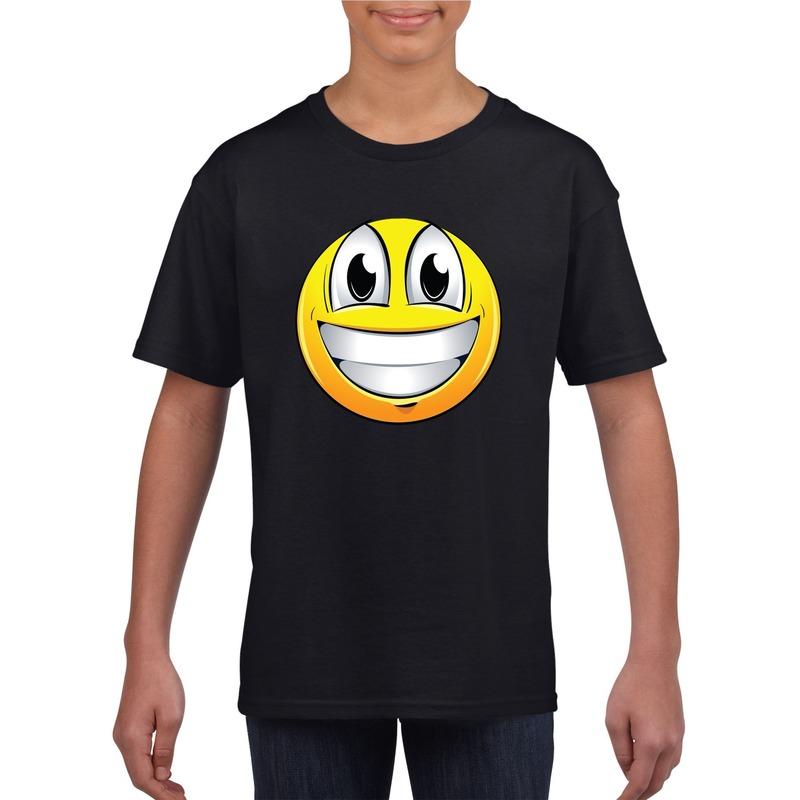Emoticon super vrolijk t-shirt zwart kinderen M (134-140) Zwart