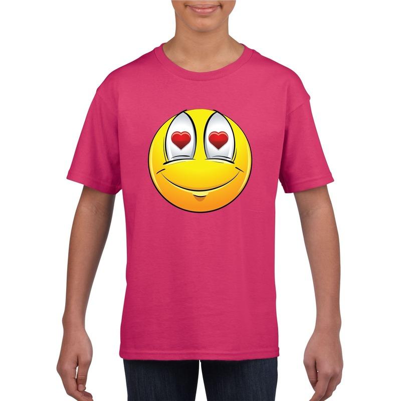 Emoticon verliefd t-shirt fuchsia/roze kinderen M (134-140) Roze