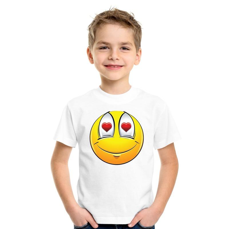 Emoticon verliefd t-shirt wit kinderen M (134-140) Wit