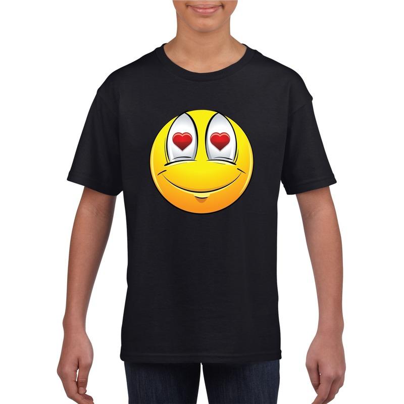 Emoticon verliefd t-shirt zwart kinderen M (134-140) Zwart