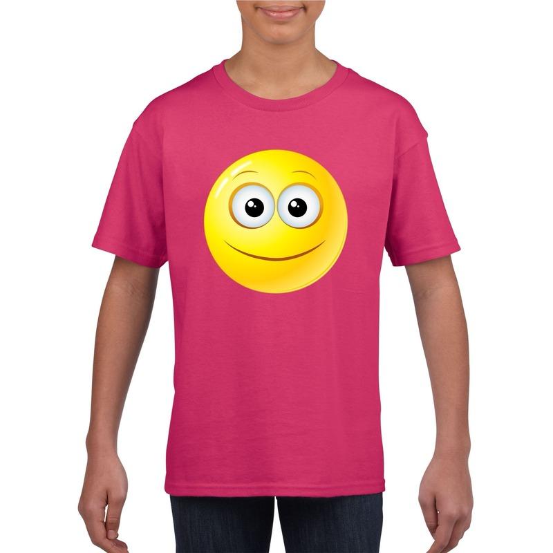 Emoticon vrolijk t-shirt fuchsia/roze kinderen M (134-140) Roze