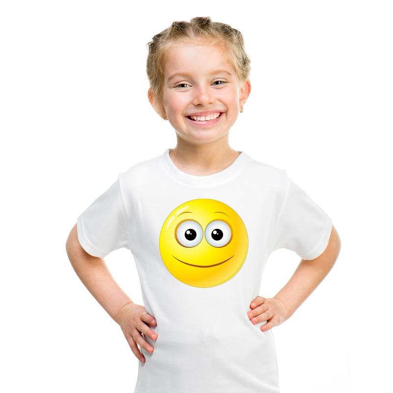 Emoticon vrolijk t-shirt wit kinderen M (134-140) Wit