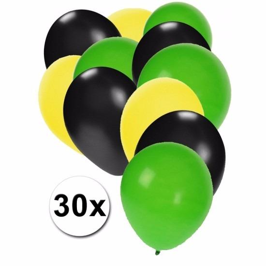 Fan ballonnen geel/zwart/groen 30 stuks Multi