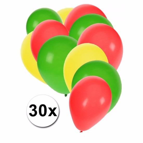 Fan ballonnen groen/geel/rood 30 stuks Multi