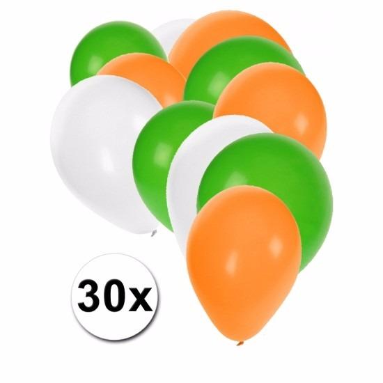 Fan ballonnen groen/wit/oranje 30 stuks Multi