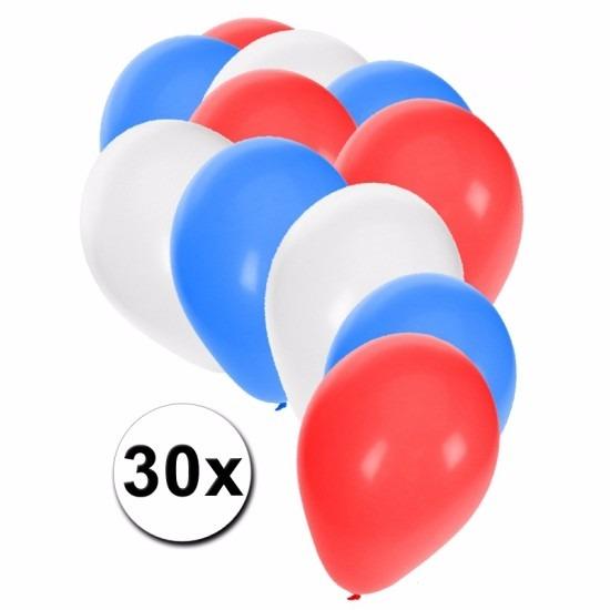 Fan ballonnen rood/wit/blauw 30 stuks Multi