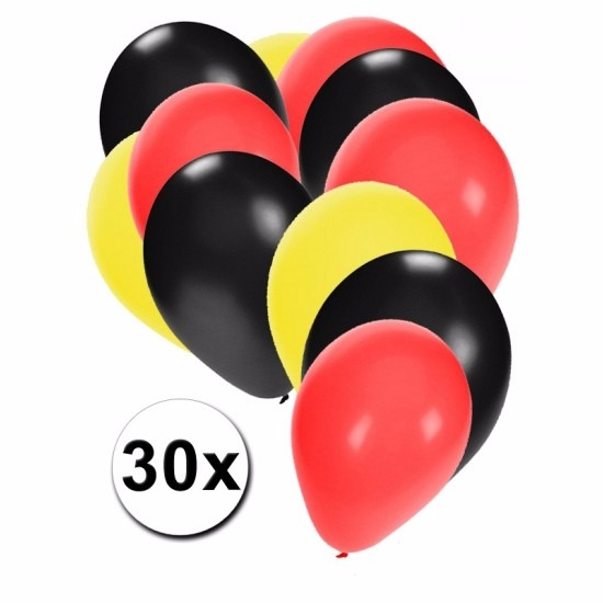 Fan ballonnen zwart/geel/rood 30 stuks Multi