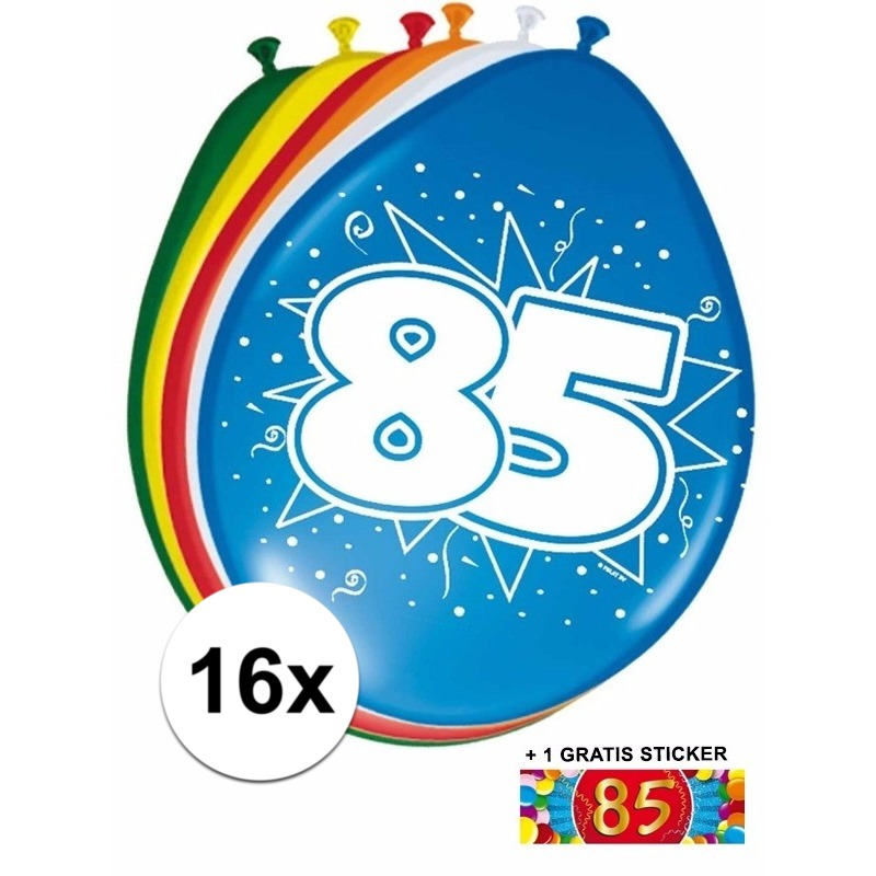 Feest ballonnen met 85 jaar print 16x + sticker Multi