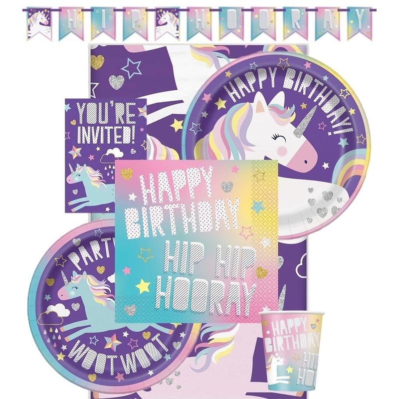 Feest eenhoorn decoratie/versiering pakket voor kinderfeestje met 8 kinderen - Feestpakketten